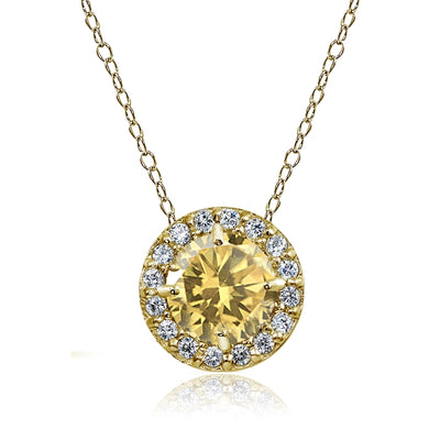 Yellow Gold Flashed Sterling Silver Citrine and Cubic Zirconia Accents Round Halo Necklace