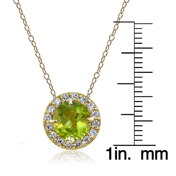 Yellow Gold Flashed Sterling Silver Peridot and Cubic Zirconia Accents Round Halo Necklace