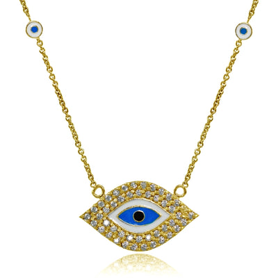 Yellow Gold Flashed Sterling Silver Cubic Zirconia and Multi Colored Enamel Evil Eye Necklace