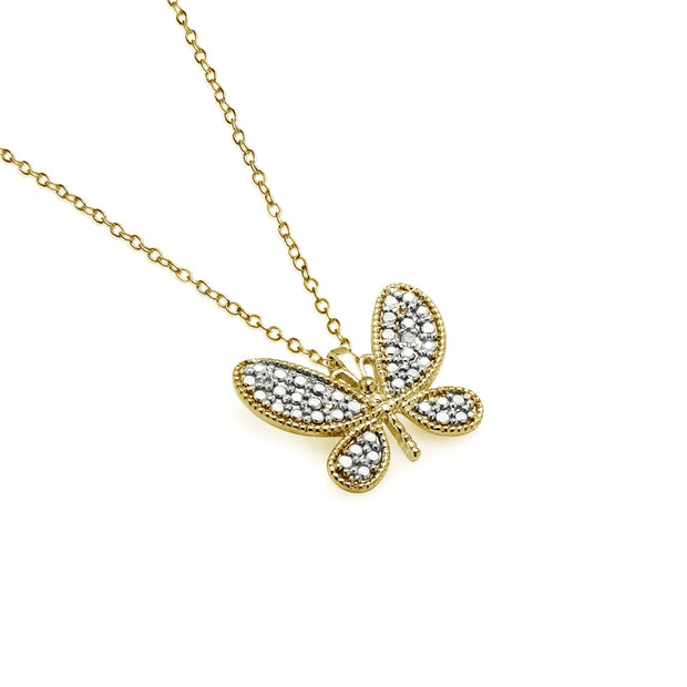 Yellow Gold Flashed Sterling Silver Butterfly Diamond Accent Pendant Necklace, JK-I3