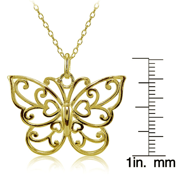 Yellow Gold Flashed Sterling Silver High Polished Filigree Butterfly Necklace