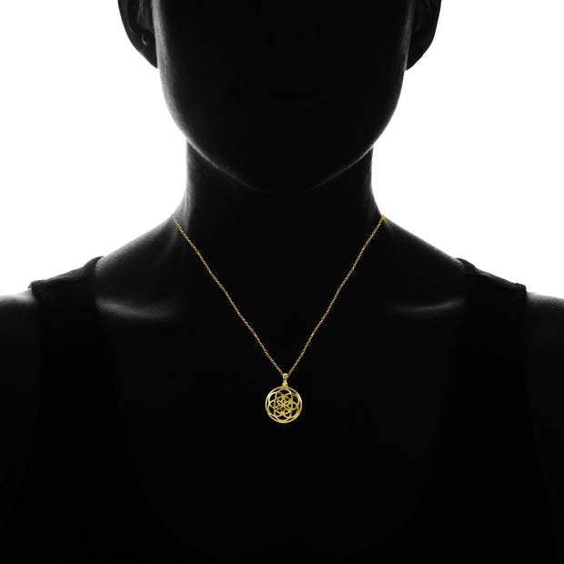 Yellow Gold Flashed Sterling Silver High Polished Celtic Knot Round Necklace