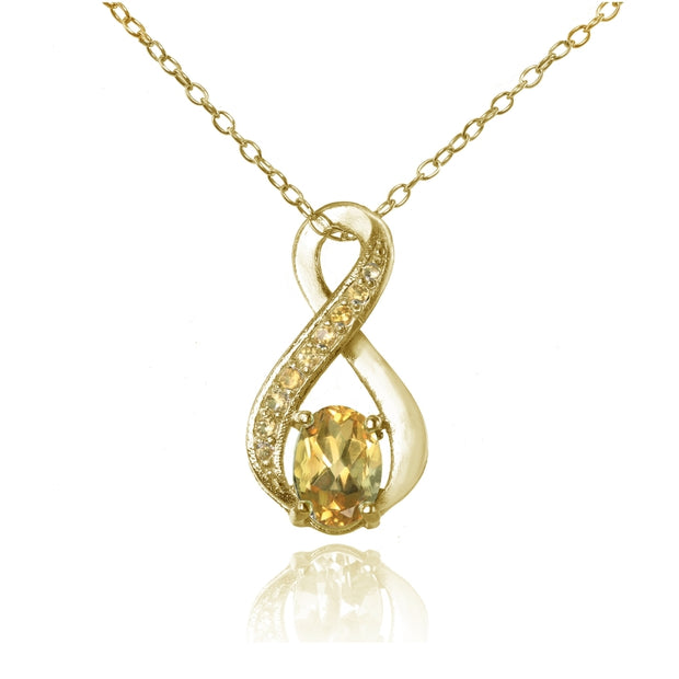 Yellow Gold Flashed Sterling Silver Citrine Infinity Drop Necklace