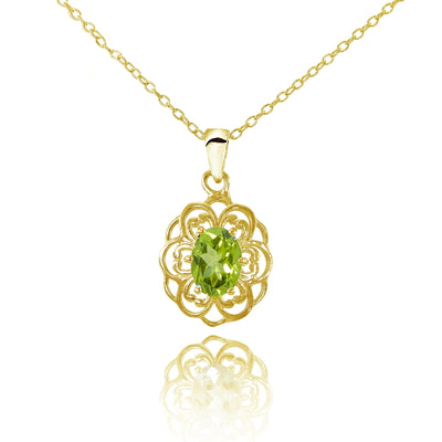 Yellow Gold Flashed Sterling Silver Peridot Filigree Oval Flower Necklace