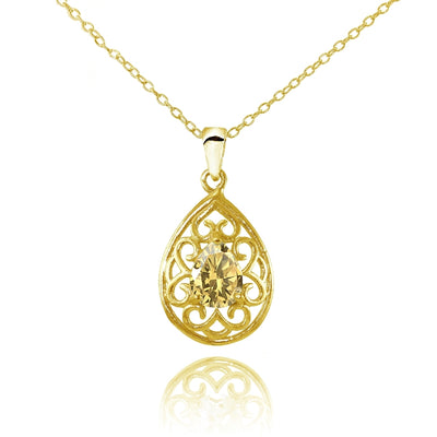 Yellow Gold Flashed Sterling Silver Citrine Filigree Teardrop Necklace