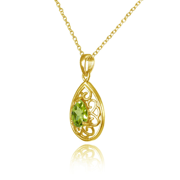 Yellow Gold Flashed Sterling Silver Peridot Filigree Teardrop Necklace