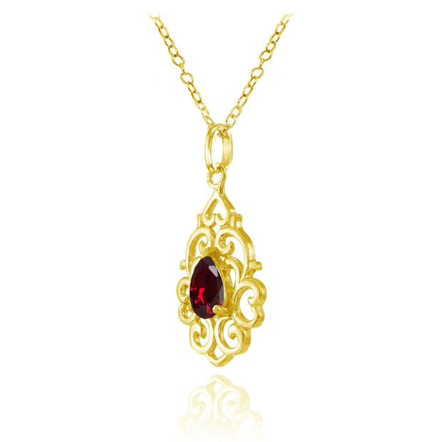 Yellow Gold Flashed Sterling Silver Created Ruby Filigree Heart Teardrop Necklace