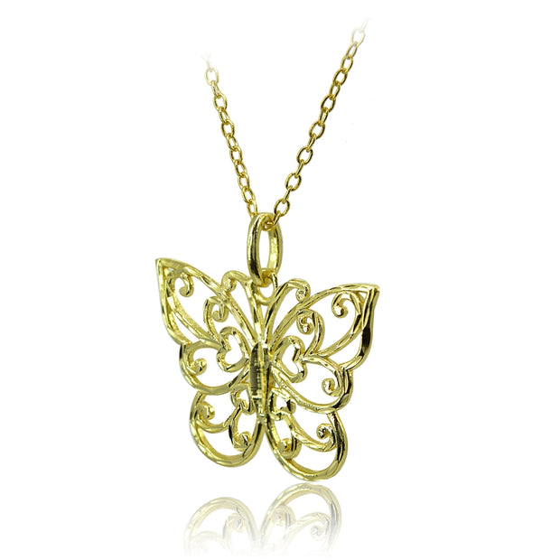 Yellow Gold Flashed Sterling Silver High Polished Diamond-cut Filigree Butterfly Pendant Necklace