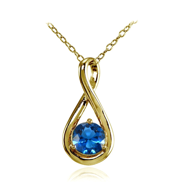 Yellow Gold Flashed Sterling Silver Created London Blue Topaz Polished 5mm Round Infinity Necklace
