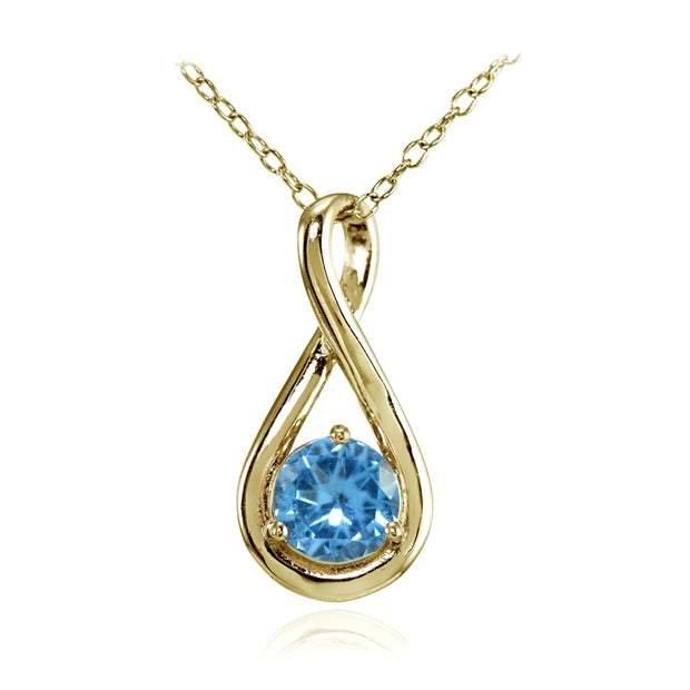 Yellow Gold Flashed Sterling Silver Created Blue Topaz Polished 5mm Round Infinity Necklace