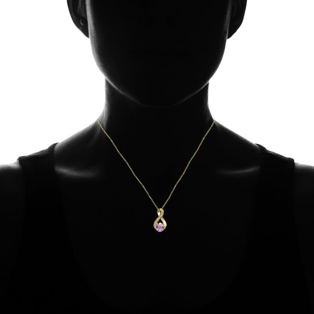 Yellow Gold Flashed Sterling Silver Created Amethyst Oval Infinity and CZ Accents Necklace