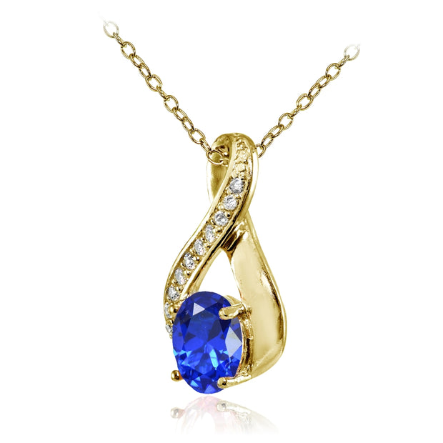 Yellow Gold Flashed Sterling Silver Created Blue Sapphire Oval Infinity and CZ Accents Necklace