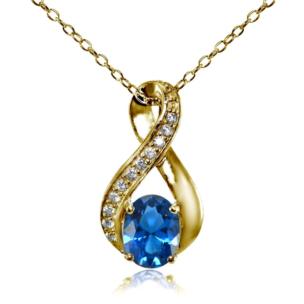 Yellow Gold Flashed Sterling Silver Created London Blue Topaz Oval Infinity and CZ Accents Necklace