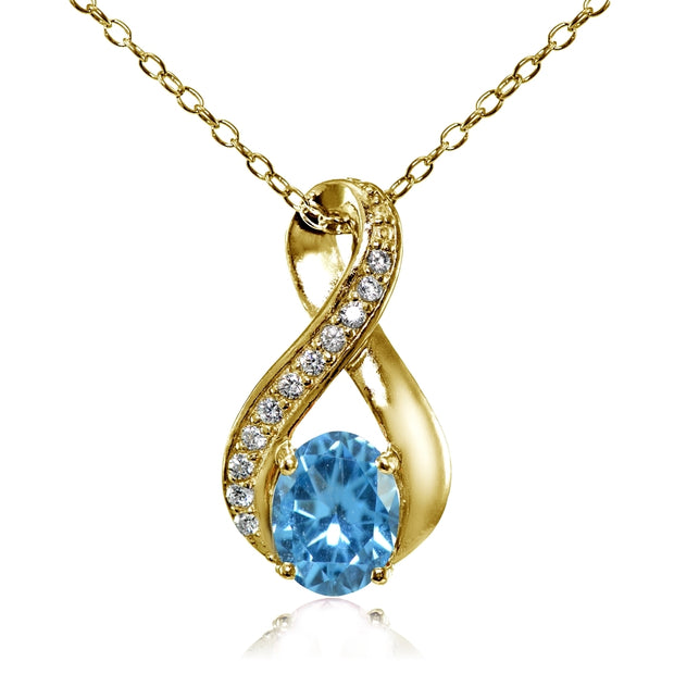 Yellow Gold Flashed Sterling Silver Created Blue Topaz Oval Infinity and CZ Accents Necklace