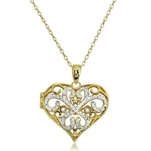 Yellow Gold Flashed Sterling Silver Two-Tone Polished Diamond-Cut Heart Filigree Picture Locket Necklace
