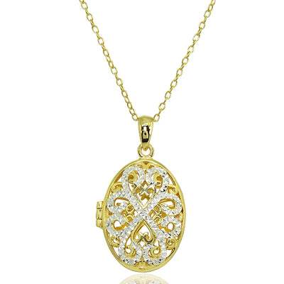 Yellow Gold Flashed Sterling Silver Two-Tone Polished Diamond-Cut Oval Filigree Picture Locket Necklace