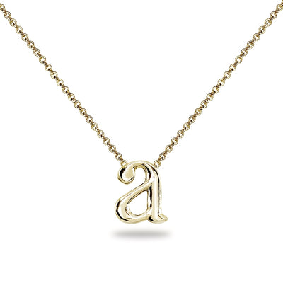 "Yellow Gold Flashed Sterling Silver A Letter Initial Alphabet Name Personalized 925 Silver Necklace, 15"" + Extender"