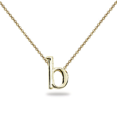 "Yellow Gold Flashed Sterling Silver B Letter Initial Alphabet Name Personalized 925 Silver Necklace, 15"" + Extender"