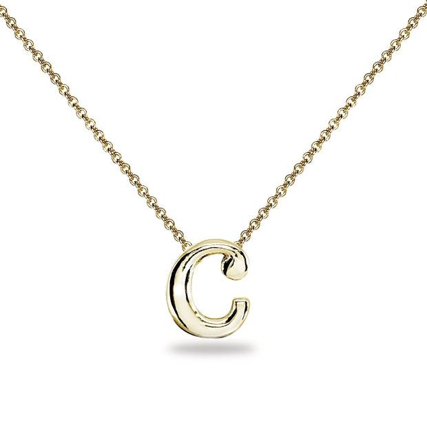 "Yellow Gold Flashed Sterling Silver C Letter Initial Alphabet Name Personalized 925 Silver Necklace, 15"" + Extender"