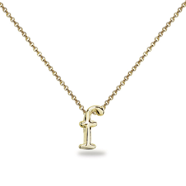"Yellow Gold Flashed Sterling Silver F Letter Initial Alphabet Name Personalized 925 Silver Necklace, 15"" + Extender"