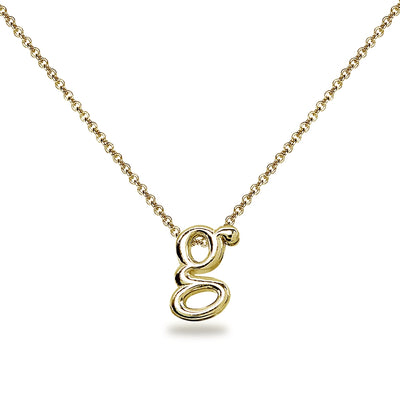 "Yellow Gold Flashed Sterling Silver G Letter Initial Alphabet Name Personalized 925 Silver Necklace, 15"" + Extender"