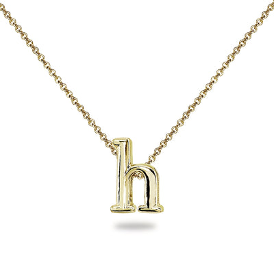 "Yellow Gold Flashed Sterling Silver H Letter Initial Alphabet Name Personalized 925 Silver Necklace, 15"" + Extender"