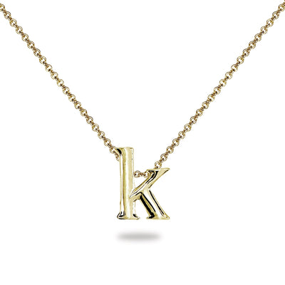 "Yellow Gold Flashed Sterling Silver K Letter Initial Alphabet Name Personalized 925 Silver Necklace, 15"" + Extender"