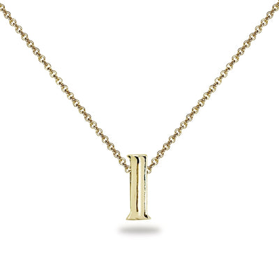 "Yellow Gold Flashed Sterling Silver L Letter Initial Alphabet Name Personalized 925 Silver Necklace, 15"" + Extender"