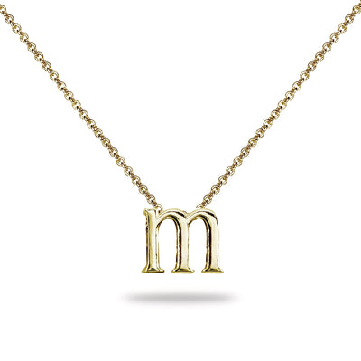 "Yellow Gold Flashed Sterling Silver M Letter Initial Alphabet Name Personalized 925 Silver Necklace, 15"" + Extender"