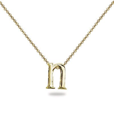 "Yellow Gold Flashed Sterling Silver N Letter Initial Alphabet Name Personalized 925 Silver Necklace, 15"" + Extender"