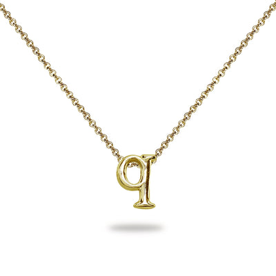 "Yellow Gold Flashed Sterling Silver Q Letter Initial Alphabet Name Personalized 925 Silver Necklace, 15"" + Extender"