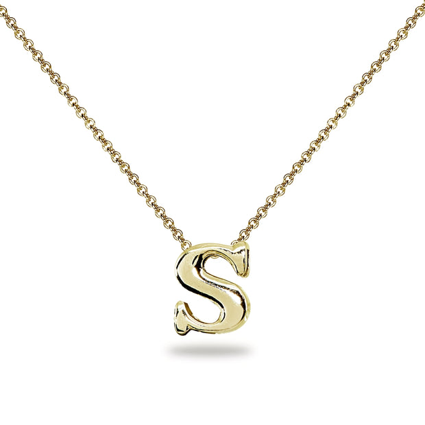 "Yellow Gold Flashed Sterling Silver S Letter Initial Alphabet Name Personalized 925 Silver Necklace, 15"" + Extender"