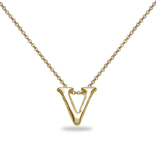 "Yellow Gold Flashed Sterling Silver V Letter Initial Alphabet Name Personalized 925 Silver Necklace, 15"" + Extender"
