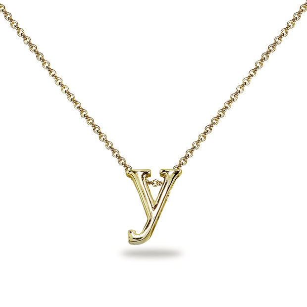 "Yellow Gold Flashed Sterling Silver Y Letter Initial Alphabet Name Personalized 925 Silver Necklace, 15"" + Extender"