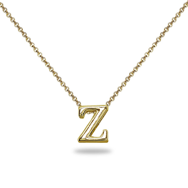 "Yellow Gold Flashed Sterling Silver Z Letter Initial Alphabet Name Personalized 925 Silver Necklace, 15"" + Extender"