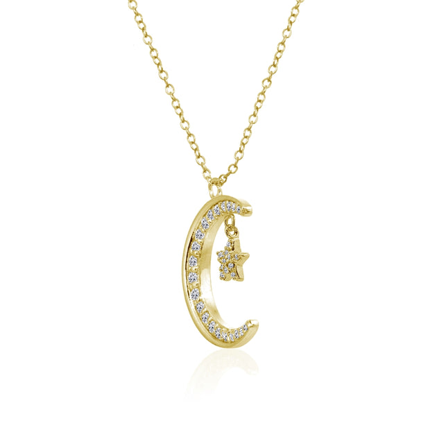 Yellow Gold Flashed Sterling Silver Crescent Moon and Star Polished Round Cubic Zirconia Necklace
