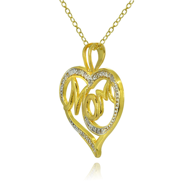 Yellow Gold Flashed Sterling Silver Polished Heart MOM Diamond Accent Pendant Necklace, JK-I3