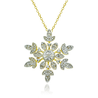 Yellow Gold Flashed Sterling Silver Polished Snowflake Diamond Accent Pendant Necklace, JK-I3