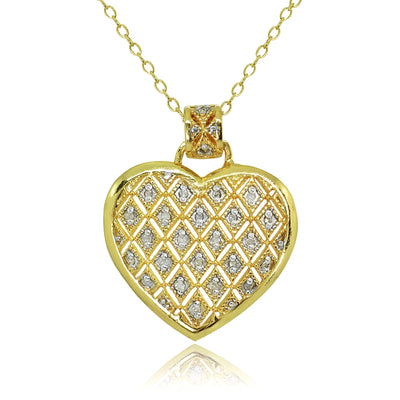 Yellow Gold Flashed Sterling Silver Polished Textured Heart Diamond Accent Pendant Necklace, JK-I3