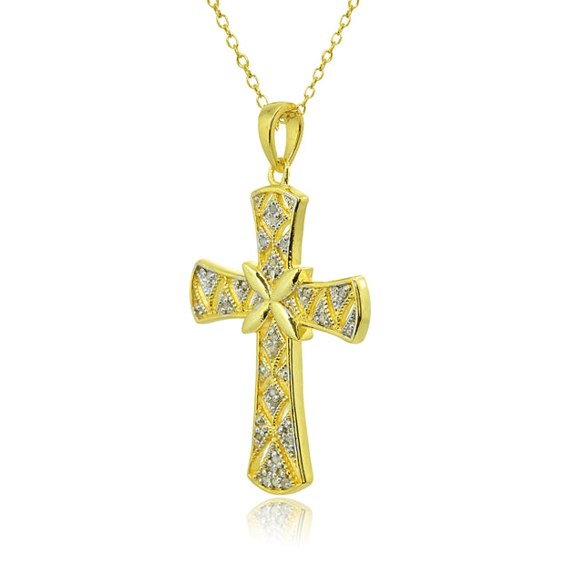 Yellow Gold Flashed Sterling Silver Polished Textured Irish Cross Diamond Accent Pendant Necklace, JK-I3