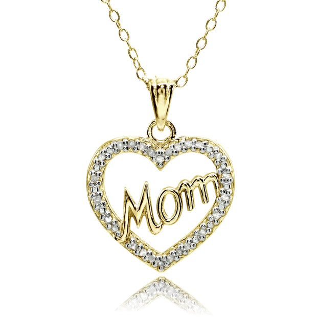 Yellow Gold Flashed Sterling Silver Polished Open Heart Mom Diamond Accent Pendant Necklace, JK-I3