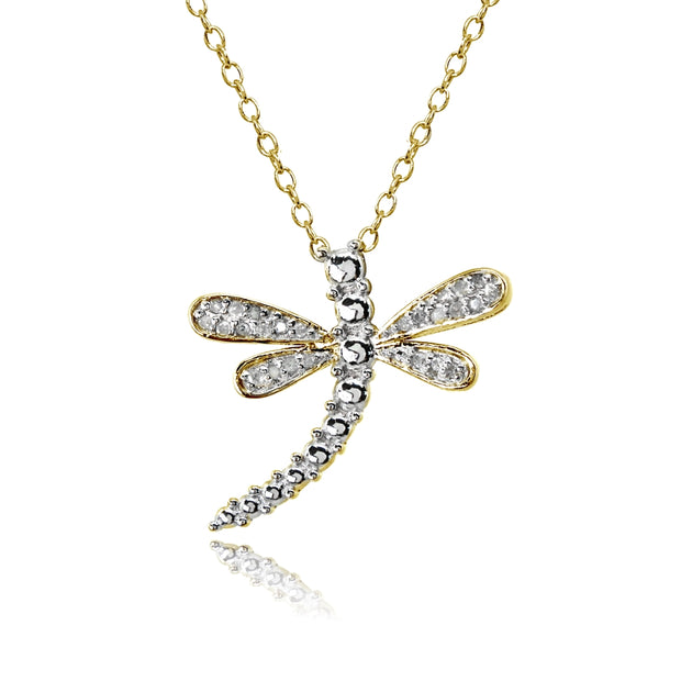 Yellow Gold Flashed Sterling Silver Polished Dragonfly Diamond Accent Pendant Necklace, JK-I3