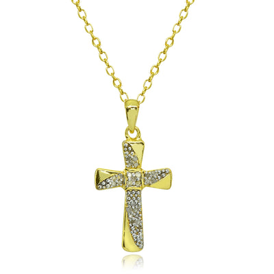 Yellow Gold Flashed Sterling Silver Polished Flared Cross Diamond Accent Pendant Necklace, JK-I3