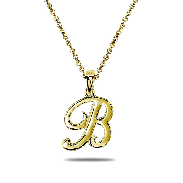 Yellow Gold Flashed Sterling Silver B Letter Initial Alphabet Name Personalized 925 Silver Pendant Necklace