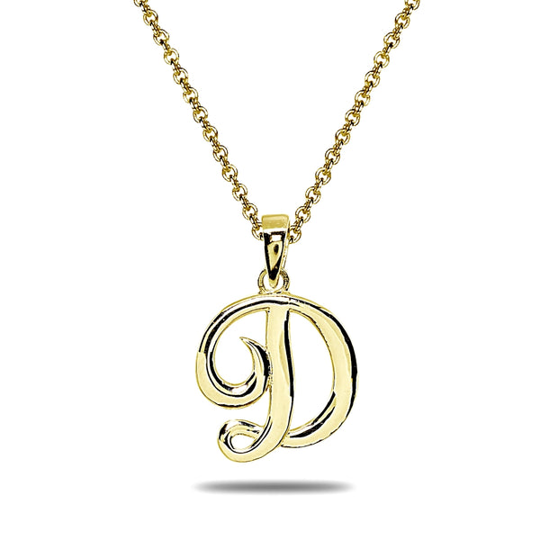 Yellow Gold Flashed Sterling Silver D Letter Initial Alphabet Name Personalized 925 Silver Pendant Necklace