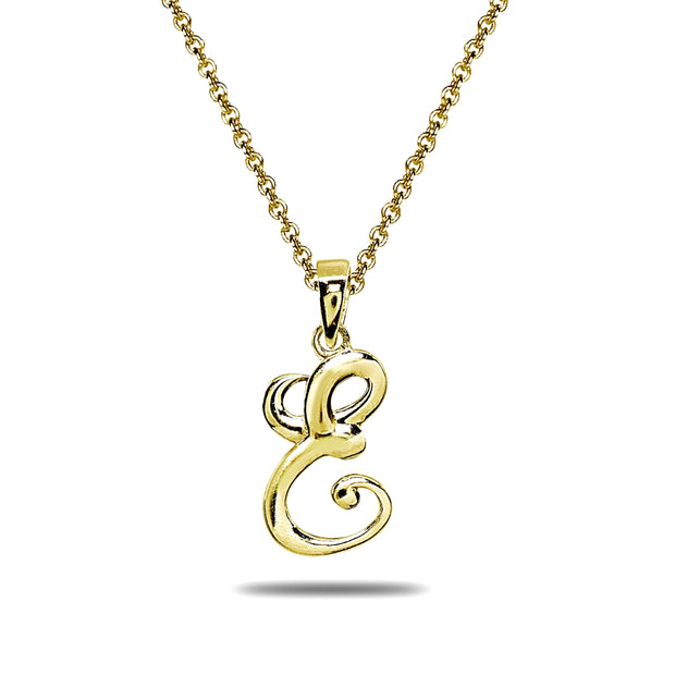 Yellow Gold Flashed Sterling Silver E Letter Initial Alphabet Name Personalized 925 Silver Pendant Necklace