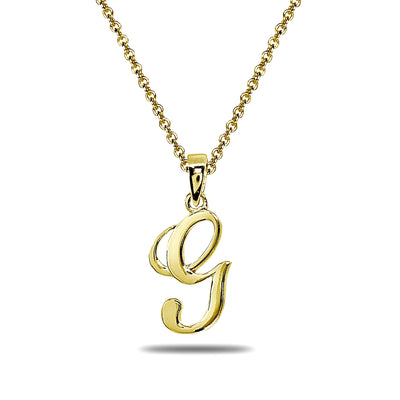 Yellow Gold Flashed Sterling Silver G Letter Initial Alphabet Name Personalized 925 Silver Pendant Necklace