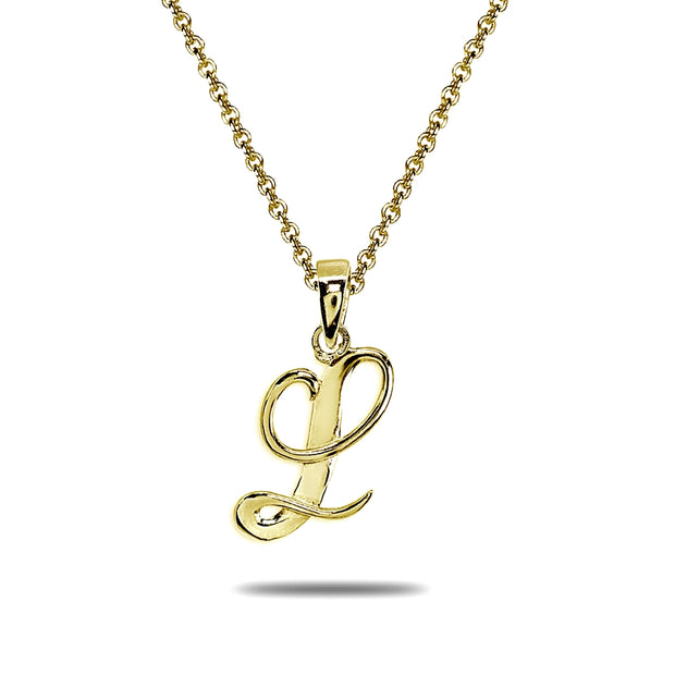 Yellow Gold Flashed Sterling Silver L Letter Initial Alphabet Name Personalized 925 Silver Pendant Necklace