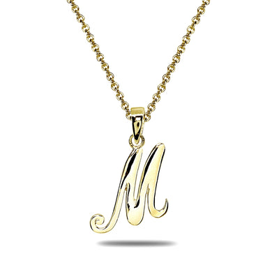 Yellow Gold Flashed Sterling Silver M Letter Initial Alphabet Name Personalized 925 Silver Pendant Necklace