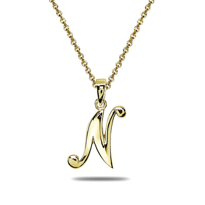 Yellow Gold Flashed Sterling Silver N Letter Initial Alphabet Name Personalized 925 Silver Pendant Necklace